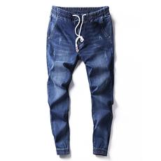 夏季薄款束脚牛仔裤男修身小脚九分裤松紧腰抽绳社会小伙哈伦裤子