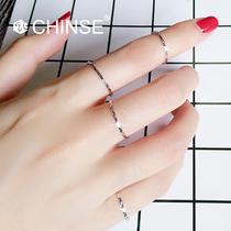 玫瑰金色尾戒小指韩版 CHINSE 925纯银超细满天星关节戒指女极窄款