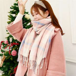 秋冬季女士围巾女冬季韩版长款学生格子大披肩加厚两用百搭围脖