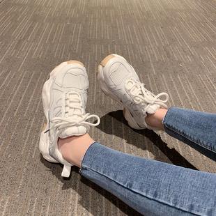 鞋子女2019春季新款休闲运动棉鞋韩版百搭学生老爹鞋网纱松糕鞋