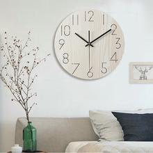 钟表挂钟客厅现代简约创意静音时钟北欧时钟艺术时尚 田园木质挂钟