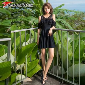 特鲨女士连体裙式游泳衣性感时尚 钢托小胸聚拢保守显瘦温泉泳衣