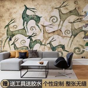 美式复古麋鹿壁纸客厅电视背景墙墙纸壁画个性创意壁纸 span class=h>图片