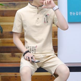中国风唐装棉麻短袖t恤男装中式汉服夏季衣服民族服装亚麻两件套
