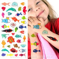 多彩小鱼纹身贴儿童卡通水印贴海底生物海洋馆可爱萌趣脸部彩妆贴