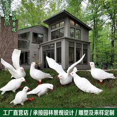 户外仿真白鸽子摆件玻璃钢动物雕塑花园林别墅庭院景观装饰工艺品