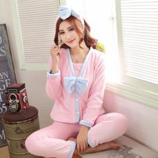 可爱卡通加厚珊瑚绒法兰绒长袖三件套装初秋冬季睡袍睡衣女家居服