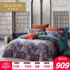 梦洁出品美颂天丝长绒棉磨毛印花四件套床上用品被套床单叶芝物语