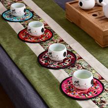 中国风特色绣花布艺刺绣隔热杯垫外事出国送老外民间手工艺小礼品