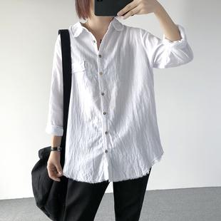 秋新款韩版女装宽松大码文艺纯色长袖翻领棉麻衬衫亚麻白色衬衣女