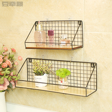 Non perforated wall mounted rack, bedroom wall hanging basket, iron art bathroom, kitchen bathroom partition wall storage rack