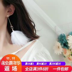 羽毛耳环韩国气质长款超仙女网红潮人白色耳坠个性百搭S925银针