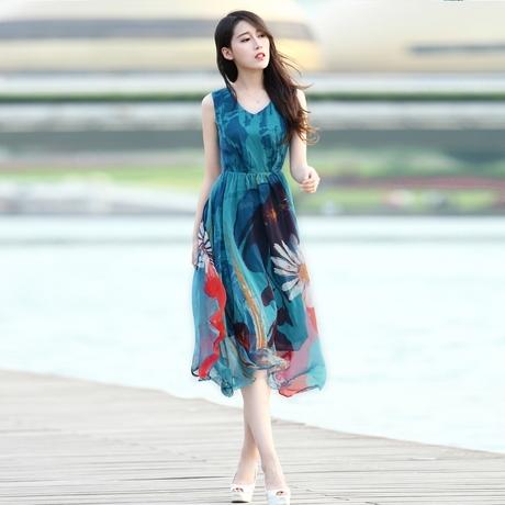 13连衣裙女中长款波西米亚长裙沙滩裙雪纺背心裙夏季印花图片