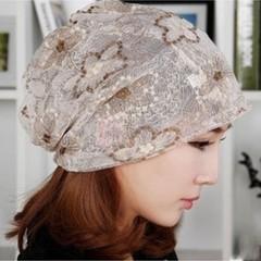 韩版女士春秋天薄款蕾丝巾头巾帽套头帽月子帽堆堆帽包头帽子围脖