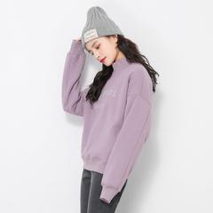 2018冬季新款加绒卫衣女宽松套头半高领韩版毛茸茸保暖打底衫加厚