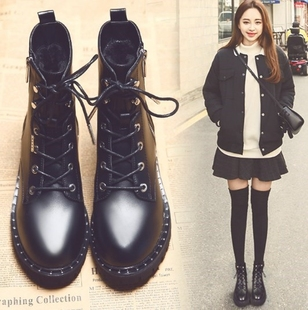 香港IT代购潮牌女靴高帮女鞋马丁靴明星同款短靴学生雪地棉鞋皮鞋