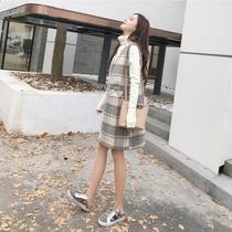 毛衣加背心裙女秋冬2018新款 毛呢马甲裙两件套洋气格子打底连衣裙