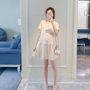 HS孕妇装夏天裙子时尚小香风上衣百褶短裙夏装棉麻哺乳连衣裙8608