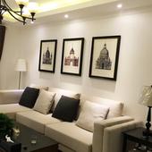 饰画沙发背景墙壁画 美式建筑装 饰画大气挂画现代简约家居品客厅装