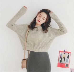 秋冬宽松韩版学生粗毛线针织打底衫高腰短款半高领套头小款毛衣女