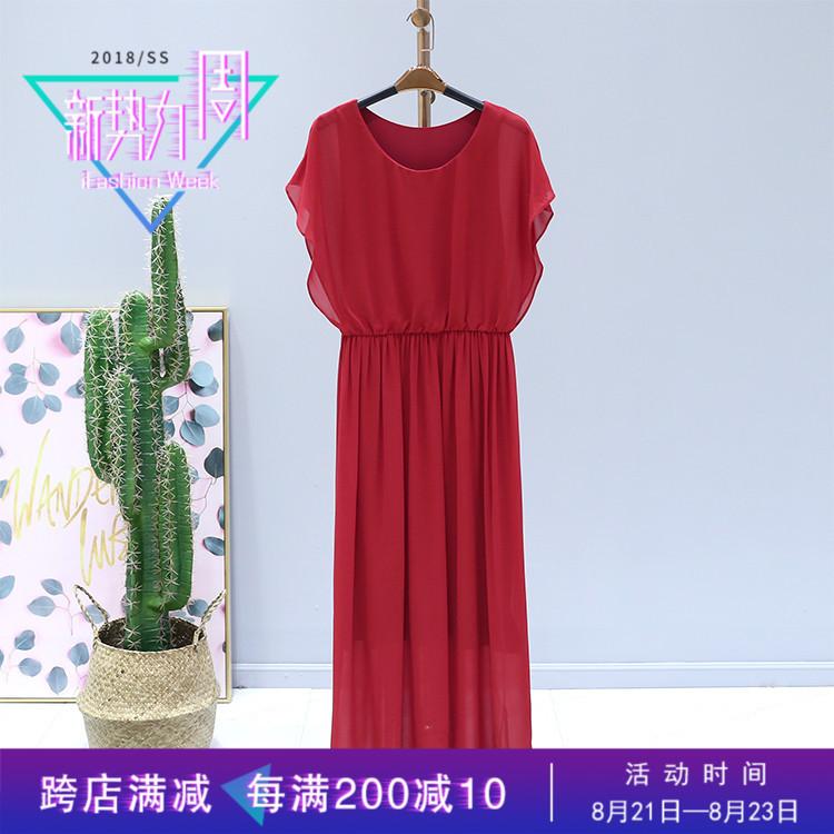 首期●新款连衣裙2018夏装品牌折扣女装B8-1潮圆领松紧腰无袖长裙图片