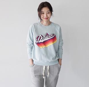 韩国代购女装2018春季新款韩版清爽复古印花纯棉圆领套头卫衣女
