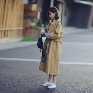 风衣女春秋2018新款加厚卡其中长款过膝休闲韩版外套工装复古加棉