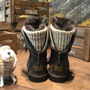 真皮羊皮毛一体雪地靴平底加绒毛毛鞋棉鞋针织中筒靴子女士2018冬