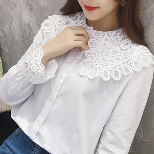 衬衫女长袖春装2019新款 韩版宽松显瘦百搭花边领 纯棉白色衬衣女