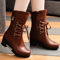 盾狐英伦风女靴2017秋冬季靴子坡跟马丁靴加绒高跟中筒靴保暖棉鞋