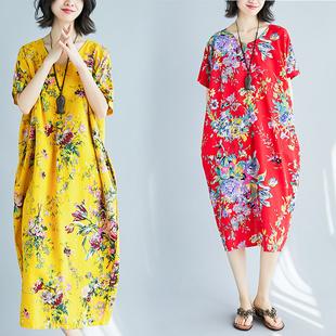 2018春夏装新款大码女装百搭宽松复古大花朵茧型棉麻短袖连衣裙子