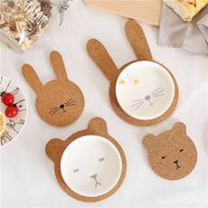 北欧软木隔热餐垫杯垫熊兔盘垫碗垫套装