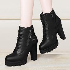 莫蕾蔻蕾秋冬女士厚底粗跟防水台高跟女士马丁靴侧拉链女靴