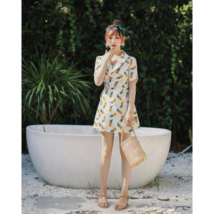 2018夏欧美复古气质职业装V领短袖高腰潮仙女渡假棉麻衬衣连衣裙