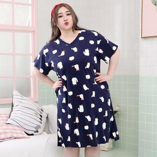 夏季女士韩版甜美风纯棉卡通小猫宽松加肥加大胖mm大码睡裙家居服