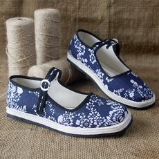 老北京布鞋单鞋女潮纯手工千层底一字带搭扣透气防臭居家布底单鞋
