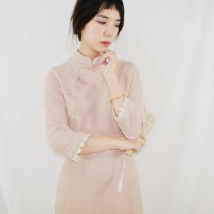 粉色立领斜襟针织修身少女旗袍长修身显瘦超气质学生秋冬
