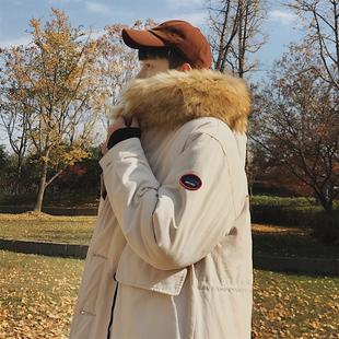 子俊冬季中长款毛领棉衣男韩版潮流连帽宽松棉服大衣港风青年外套