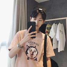 日系卡通印花上衣棉青少年水洗圆领tee班服 子俊夏季潮流T恤男短袖
