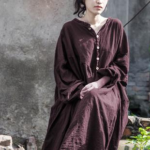 壹念原创2018春夏季灯笼袖宽松中长款显瘦复古长袖大码棉麻连衣裙