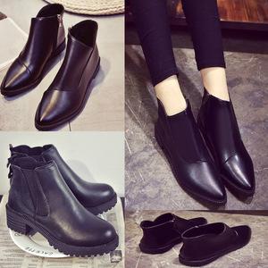 秋冬韩版流苏女鞋马丁靴女靴裸靴子尖头切尔西短靴骑士英伦风平跟女靴