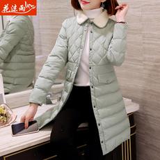 女士棉衣中长款2017冬装新款韩版修身棉袄长款棉服轻薄袄子外套潮