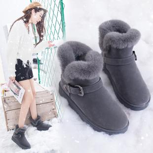 雪地靴女2018新款女士百搭搭扣棉鞋韩版百搭学生加绒加厚防滑短靴