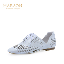 哈森2018夏新品休闲方头系带女鞋舒适镂空低跟单鞋HM82415