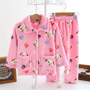秋冬季法兰绒儿童睡衣男童女孩宝宝珊瑚绒套装女童小孩长袖家居服儿童睡衣