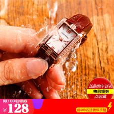 2018女神真皮带女士手表简约防水女生手表复古方形水钻石英表时尚
