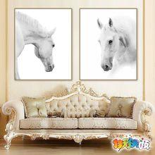佳彩天颜DIY数字油画自然清新北欧简约动物现代家居白马装饰画