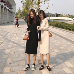 朴正义2018秋冬闺蜜装新款韩版黑色中长款内搭打底针织连衣裙子女