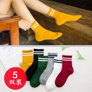 5双日系春夏两条杠杠女士休闲中筒袜子条纹纯棉街头百搭韩版女袜