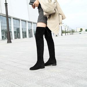 大码女鞋41-43秋 款<span class=H>过膝</span><span class=H>长靴</span><span class=H>大筒</span><span class=H>围</span>胖mm瘦腿靴粗筒靴真皮绒弹力靴